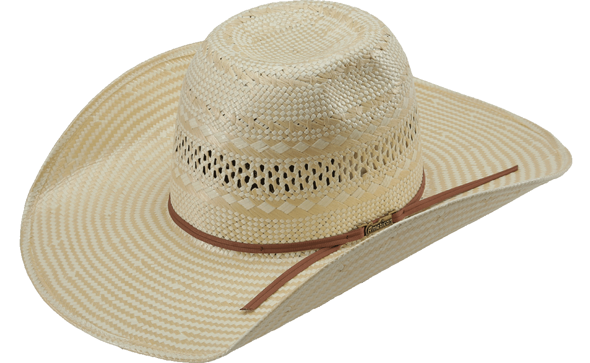 American Hat Co 845 Poli Rope Fancy Weave Neck Vented Straw Hat – Rodeo Mart 2f307b1669f7