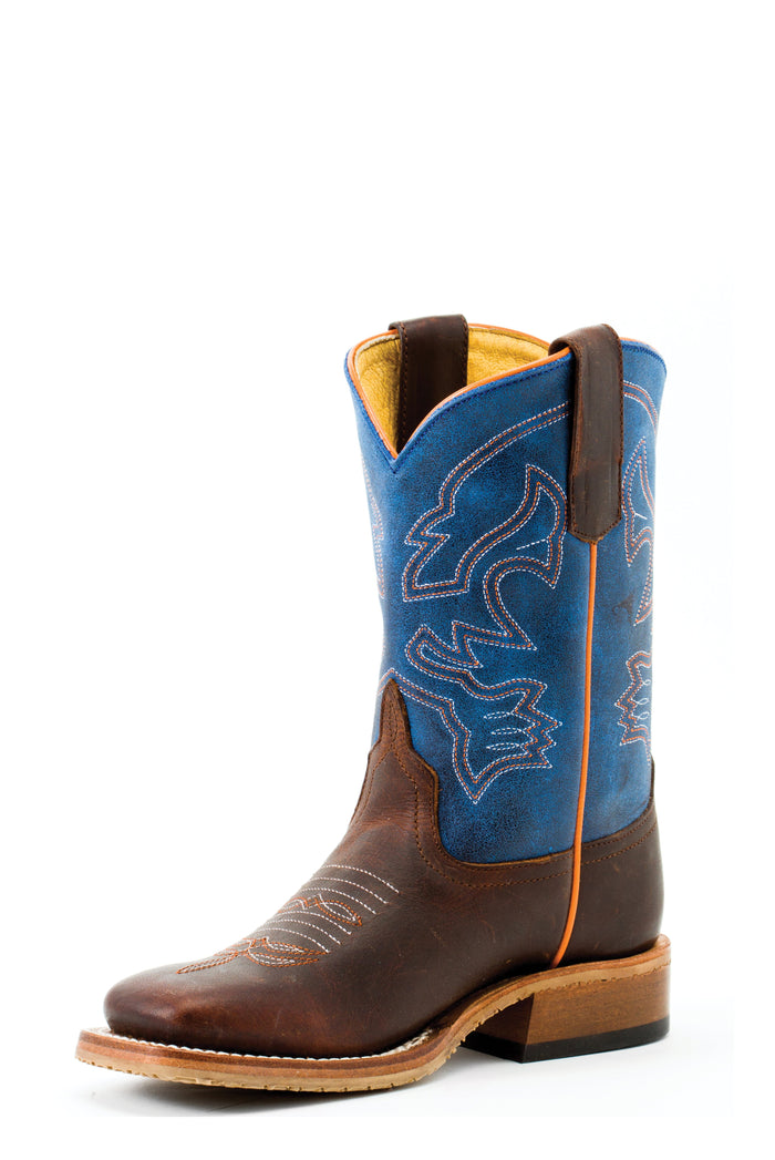 Anderson Bean Kids Boots - ABK3000 Toast Bison Bottom with Blue Mad Dog Top