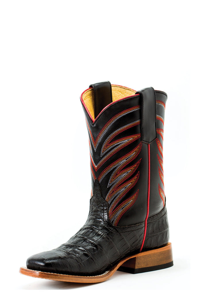 Anderson Bean Kids Boots - ABK3005 Midnight Black with Red Accents and Stitch