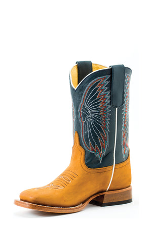 Anderson Bean Kids Boots - ABK3007 Rust Burnished Crazyhorse Essex Blue Kidskin Leather