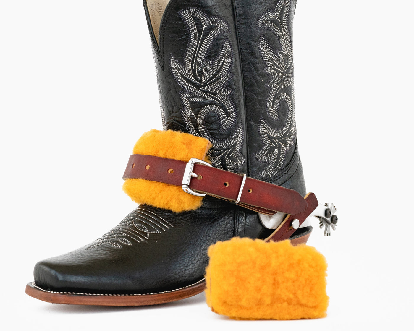 Adult Size Pair Of DARK BROWN Leather Western Basic Spur Straps