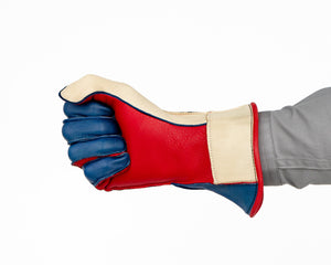 1RM Bull Riding Glove in Red, White, Blue Fist Front