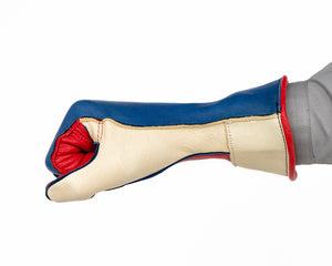 1RM Bull Riding Glove in Red, White, Blue Fist Side