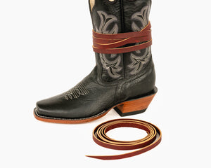 "Leather Boot Tie - 100"" on Boot"