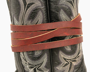 "Leather Boot Tie - 60"" on Boot"
