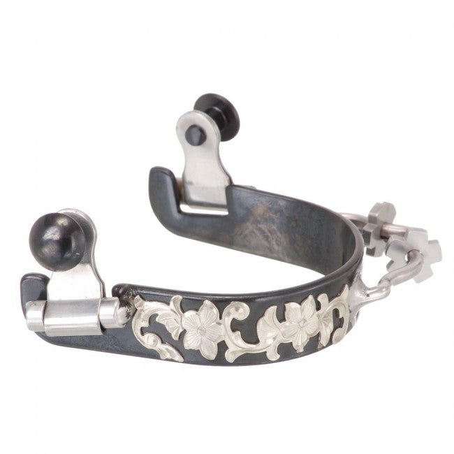 Black Steel Bumper Spurs with Engraved Silver Floral Overlay