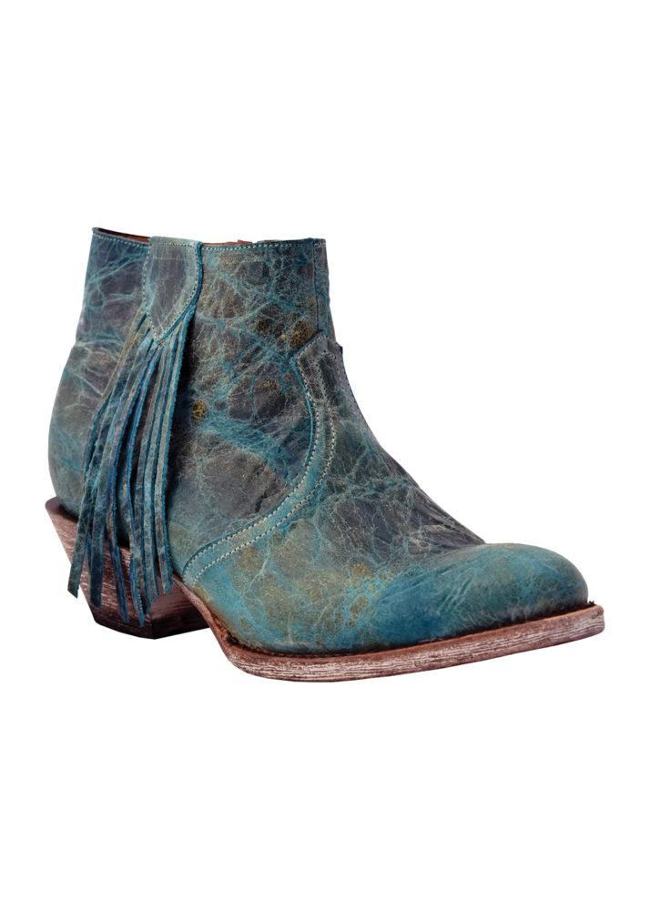 Ferrini Ladies Bootie with Fringe Turquoise R-Toe