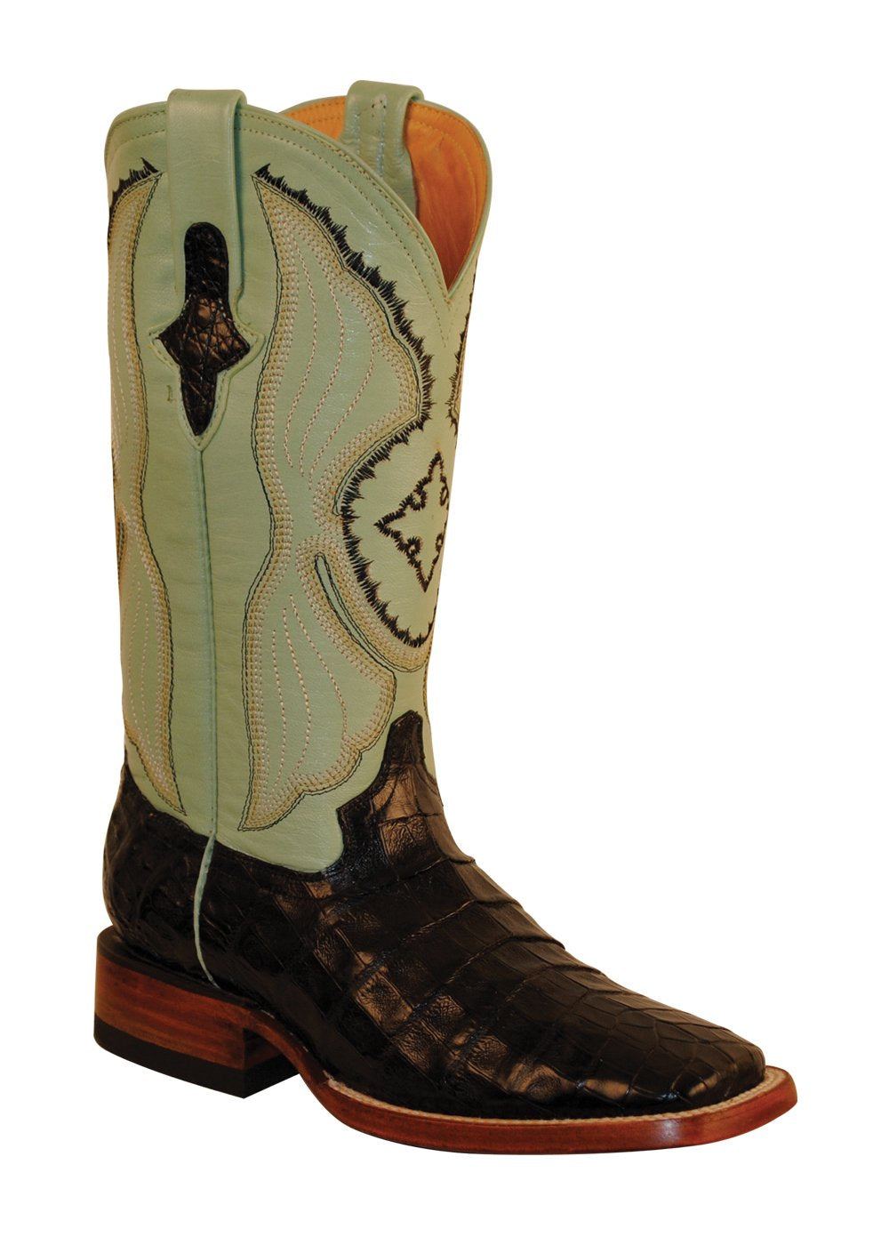 Ferrini Ladies Caiman Belly Black/Mint S-Toe