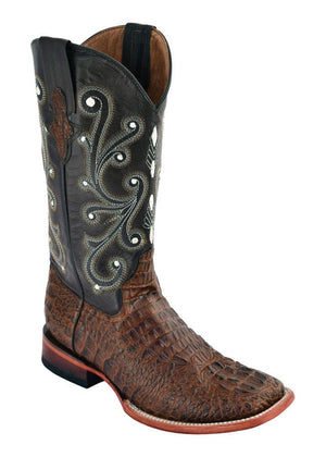 Ferrini Ladies Caiman Print Sport Rust/Chocolate S-Toe