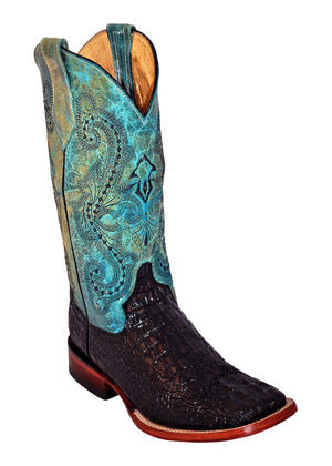 Ferrini Ladies Caiman Print Black/Turquoise S-Toe