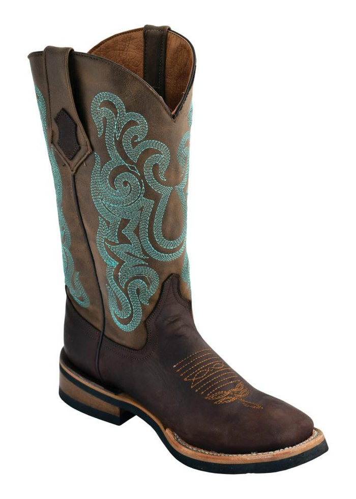 Ferrini Ladies Maverick Chocolate/Teal Rubber Sole S-Toe