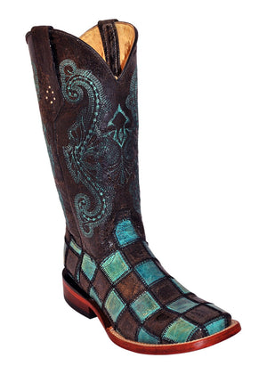 Ferrini Ladies Patchwork Black/Teal S-Toe