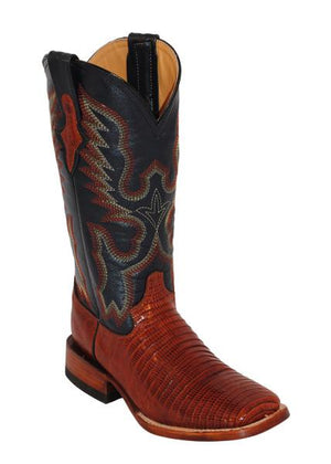 Ferrini Ladies Lizard Cognac/Navy S-Toe