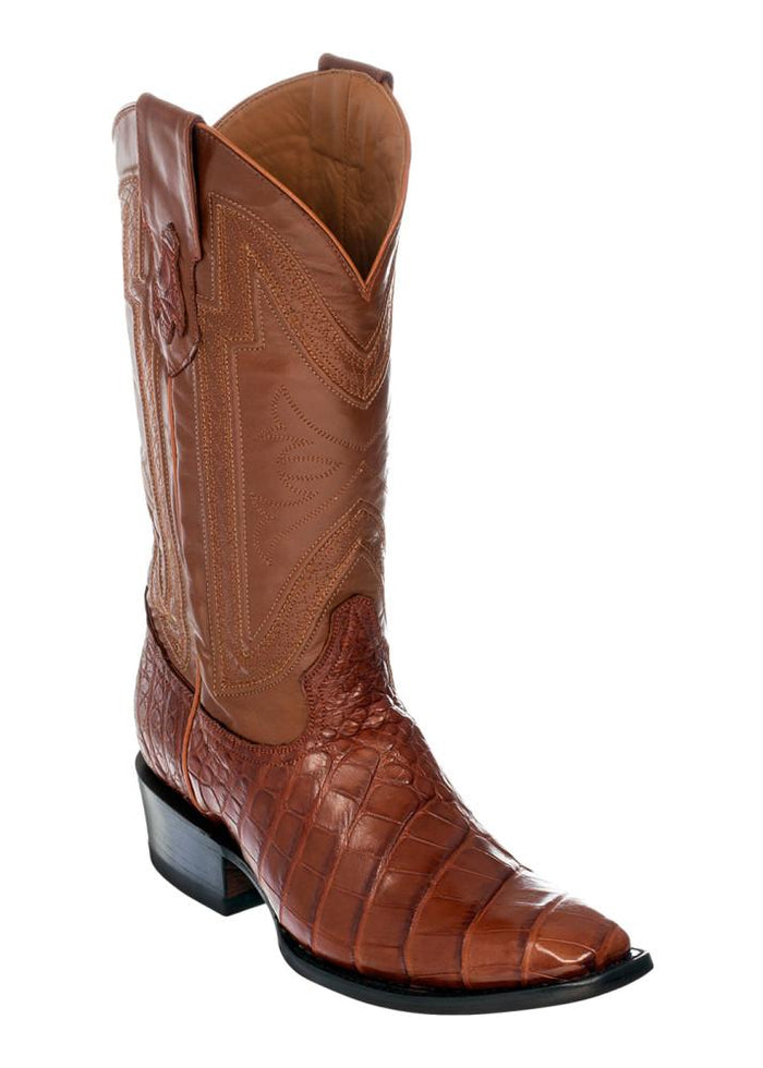 Ferrini Men's Genuine Alligator Belly Cognac D-Toe