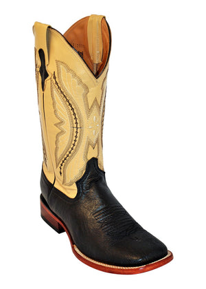 Ferrini Men's Smooth Ostrich Black S-Toe