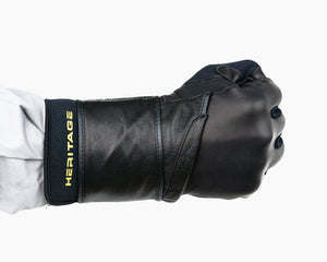 Heritage Adult Wrist Wrap Bull Riding Glove in a Fist Back View