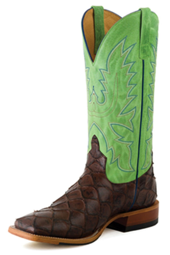 Horse Power Adult Boots - HP1824 Chocolate Filet Bottom with Green Sinsation Top