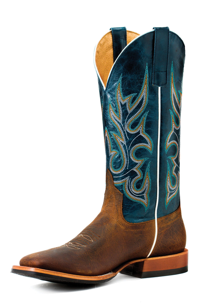 Horse Power Adult Boots - HP1827 Toast Bison Bottom with Navy Vail Top