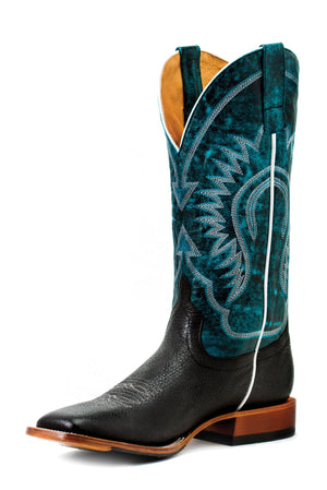 Horse Power Adult Boots - HP1831 Black Bull Hide Bottom with Aqua Monet Top