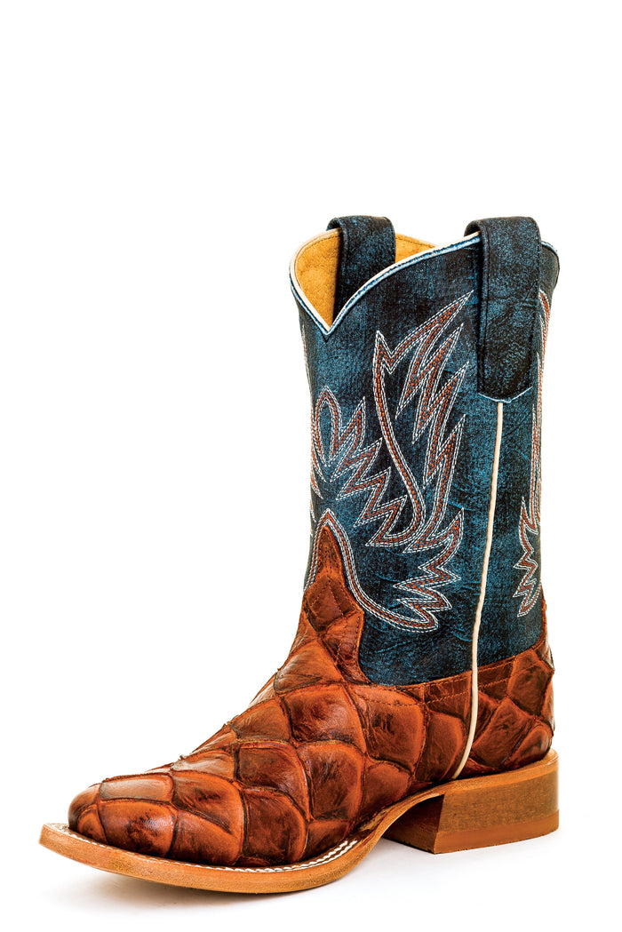Horse Power Kids Boots - HPK1823 Cognac Filet fo Fish Bottom with Seas the Day Top