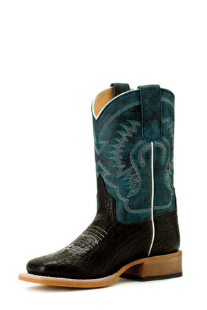 HPK1831 Black Bull Hide Bottom with Aqua Monet Top