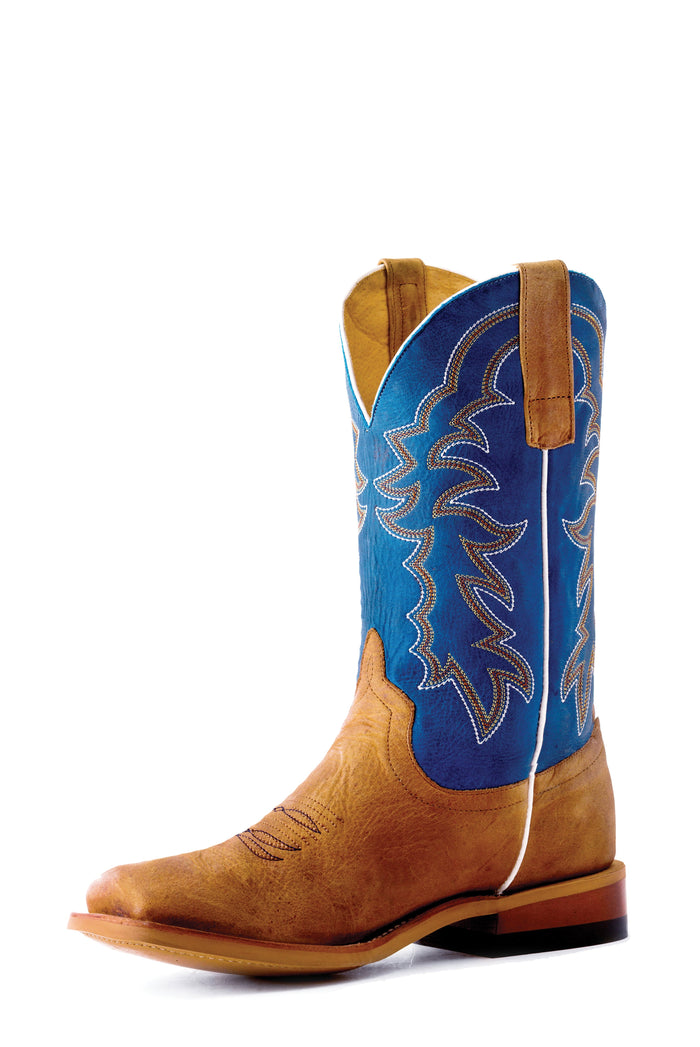 Horse Power Kids Boots - HPK1836 Pecan Barking Iron Bottom with Sugared Blue Jeans Top