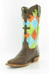 Anderson Bean Youth Boots - HPY7033 Honey Crazyhorse with Bright Colored Patchwork and Cross Overlay