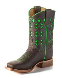 Anderson Bean Youth Boots - HPY1783 Chocolate Bucko Leather with Neon Green Inlay and Trim