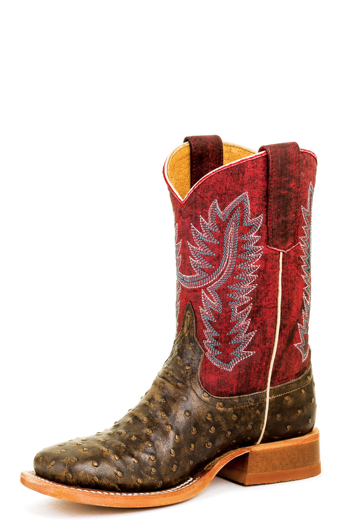 Anderson Bean Youth Boots - HPY7082 Chocolate Ostrich Full Quill Print with Scraped Brick Top