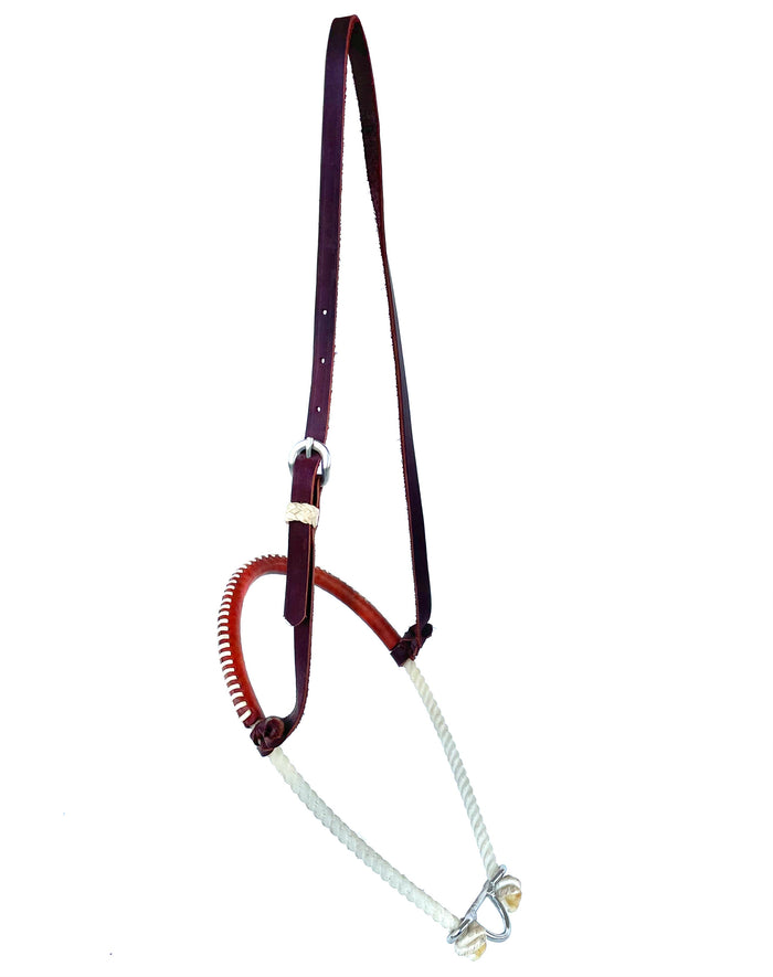 Single Tie Down Rope Leather Covered Noseband