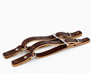 "Junior 3/4"" Fold Back Spur Straps Top View"