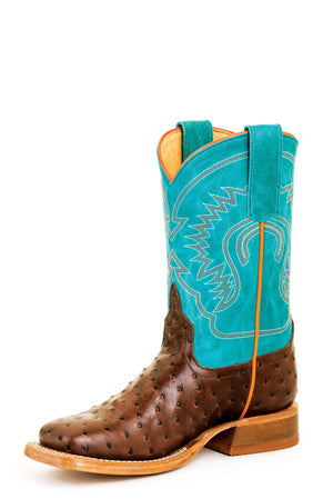 Anderson Bean Kids Boots - ABK7083 Vamp Full Quill Ostrich with Turquoise Top
