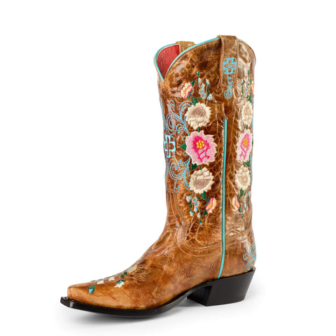 Tan Floral Vamp With Tan Floral Stitching M8012