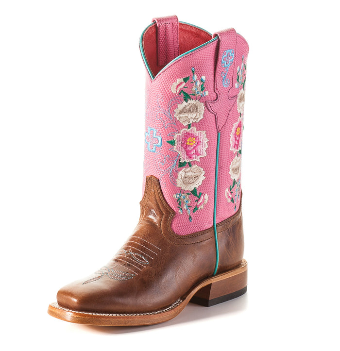 Macie Bean Kids Boots - MK7047 Honey Bunch Bottom with Rose Lizard Print Top