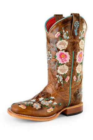 Tan Floral Vamp with Tan Floral Stitching MK9012