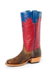 Olathe Youth Boots - OKY42 Vamp Toast Bison Bottom with Red Top and Blue Spiderweb Stitch