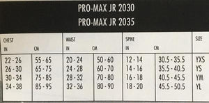 2035 Youth Vest Sizing Chart