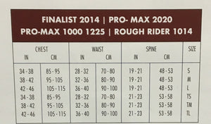 1014 Rough Rider Vest Sizing Chart