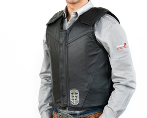 Ride Right Flex Thin Pro Adult Rodeo Vest Leather Left Side