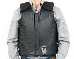 Ride Right Flex Thin Pro Adult Rodeo Vest Leather Front