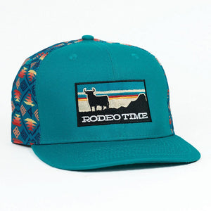 Sunset Santa Fe Black/Teal Flat Bill