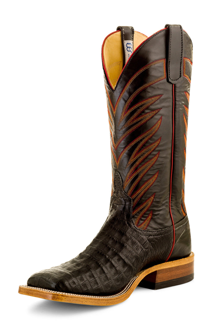 Anderson Bean Adult Boots - S3005 Vamp Black Caiman Belly Black Glove Leather
