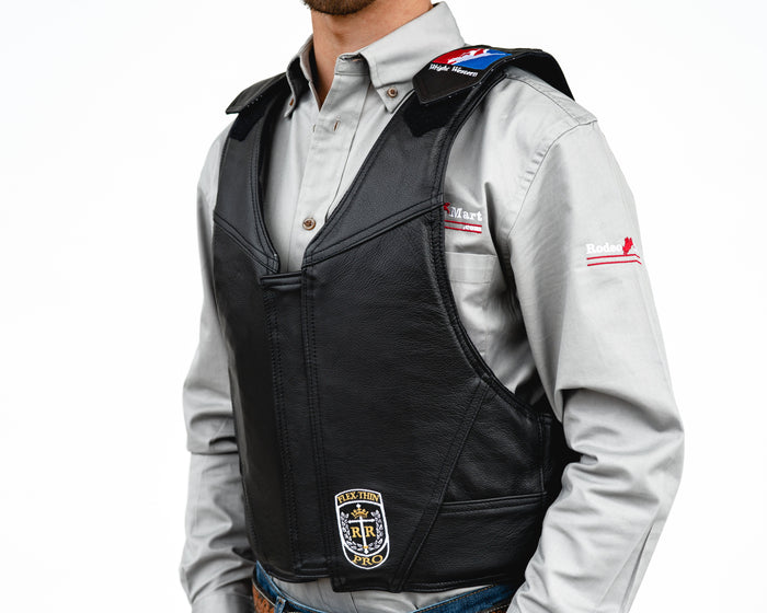 Ride Right Wright Western Saddle Bronc Vest - Black Leather