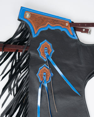 Youth Rodeo Chaps with No Leg Design Blue Side