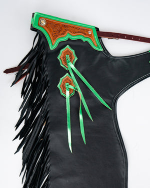 Youth Rodeo Chaps with No Leg Design Green