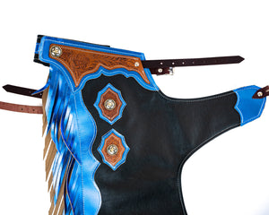 Youth Rodeo Chaps with Leg Design Blue Yolk