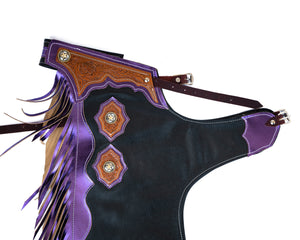 Youth Rodeo Chaps with Leg Design Purple Yolk