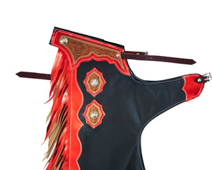 Youth Rodeo Chaps with Leg Design Red Yolk