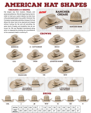 American Hat Co 7104 Vented Shantung Straw Hat - Clear Lacquer