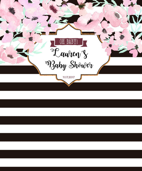 Stripe and Flower Backdrop for Baby Shower - The Backdrop Store